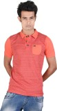 Juene Solid Men's Polo Neck Red, Pink T-...