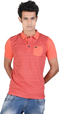 Juene Solid Men's Polo Neck Red, Pink T-Shirt
