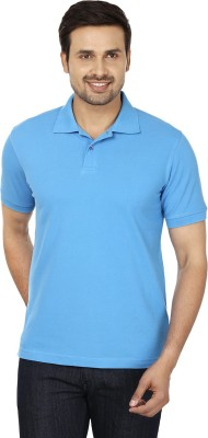 Basileo Solid Men's Polo Neck Blue T-Shirt