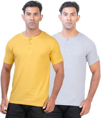 Click Hit Solid Men's Henley Yellow, Grey T-Shirt