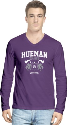 Hueman Printed Men's V-neck Purple T-Shirt