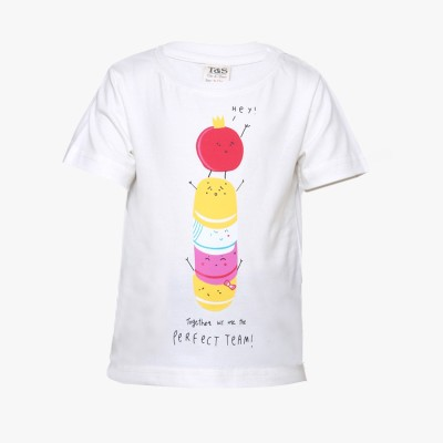 Tales & Stories Graphic Print Baby Girl's Round Neck White T-Shirt
