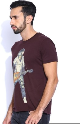 Wrangler Solid Men's Round Neck Brown T-Shirt