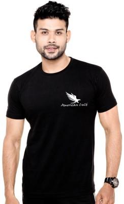 American Cult Solid Men's Round Neck Black T-Shirt