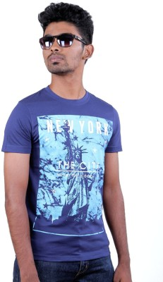 Fashion4u Printed Men's Round Neck Dark Blue T-Shirt
