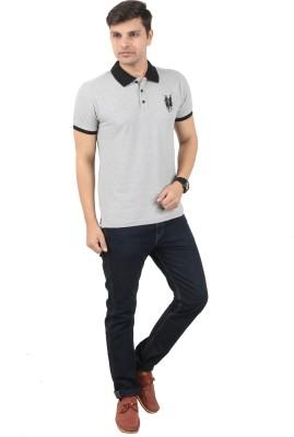 zing polo wear Solid Men's Polo Grey T-Shirt