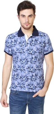 Van Heusen Printed Men's Polo Neck Blue T-Shirt