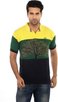 GOT IT Striped, Embroidered Men's Mandarin Collar Yellow T-Shirt