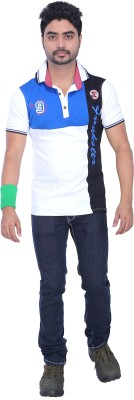 AFLASH Printed Men's Polo White, Blue T-Shirt