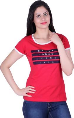 Kally Printed Women's Round Neck Red T-Shirt