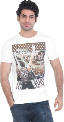 Zulements Printed Men's Round Neck White T-Shirt