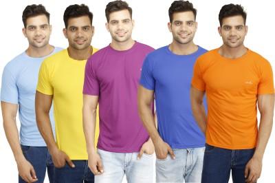 Eprilla Solid Men,s Round Neck Orange, Purple, Blue, Yellow, Light Blue T-Shirt