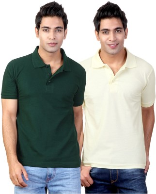 Top Notch Solid Men's Polo Neck Green, White T-Shirt