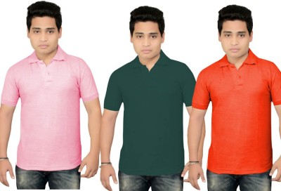 BrandTrendz Solid Men's Polo Neck Pink, Green, Red T-Shirt