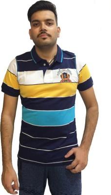 London Eye Striped Men,s Polo Neck Dark Blue, Yellow T-Shirt