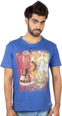 Pulpypapaya Printed Men's Round Neck Blue T-Shirt