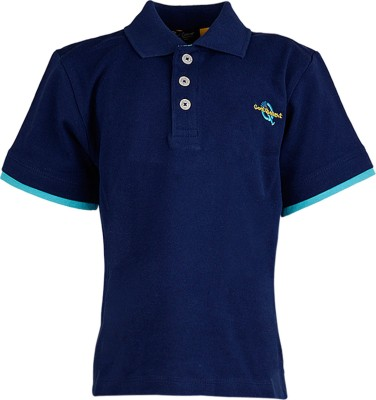 Cool Quotient Solid Polo Blue T-Shirt