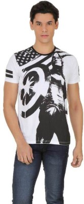 Captain America Printed Men's Round Neck White, Black T-Shirt