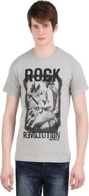 Moonwalker Printed Men's Round Neck Grey T-Shirt