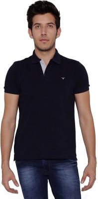Threadz Solid Men's Polo Dark Blue T-Shirt