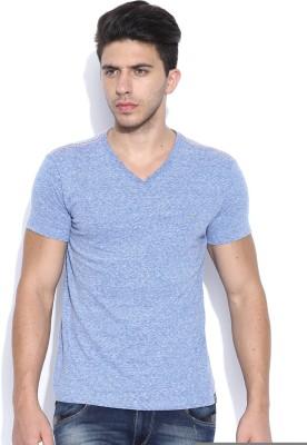 Lee Solid Men's V-neck Blue T-Shirt