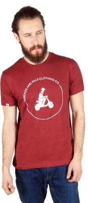 Threads & Pals Printed Men's Round Neck Maroon T-Shirt