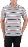 Japroz Striped Men's Polo Neck Grey T-Sh...