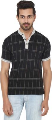 Ruse Checkered Men's Henley Black, Grey T-Shirt