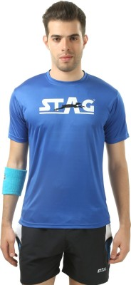 Stag Printed Men's Round Neck Blue, Blue T-Shirt