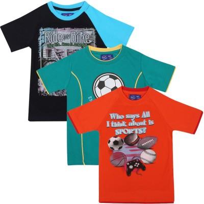 SPN Garments Printed Boy's Round Neck Black, Green, Orange T-Shirt