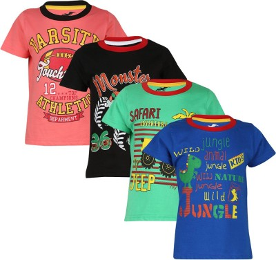 Antshrike Printed Boy's Round Neck Multicolor T-Shirt