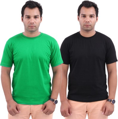 Stylenfly Solid Men's Round Neck Green, Black T-Shirt