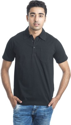 Casual Tees Solid Men's Polo Neck Black T-Shirt