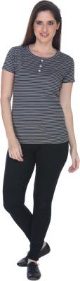 Fast n Fashion Striped Women's Boat Neck Black, Grey T-Shirt
