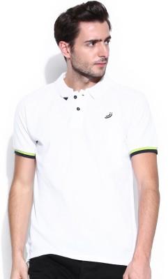 Jn Joy Solid Men,s Polo Neck White T-Shirt