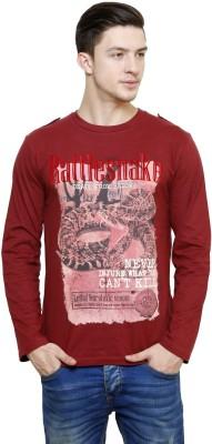 Era of Attitude Printed Men's Round Neck Red T-Shirt