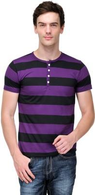 TSX Striped Men's Henley Purple, Black T-Shirt