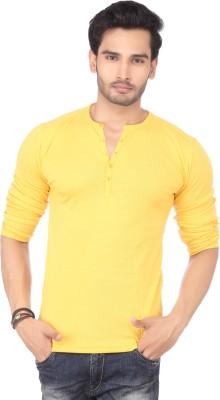 DXI Solid Men's Henley Yellow T-Shirt