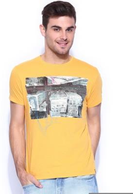 Lee Graphic Print Men's Round Neck Yellow T-Shirt