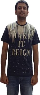 YDA Printed Men's Round Neck Dark Blue T-Shirt