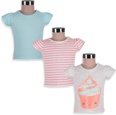 Mothercare Striped Girl's Round Neck Grey, Blue, Pink T-Shirt