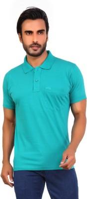 Awack Solid Men's Polo Neck Blue T-Shirt