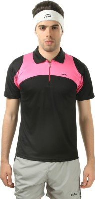 Stag Printed Men's Polo Neck Black, Pink T-Shirt