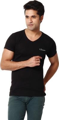 Zion Solid Men's V-neck Black T-Shirt