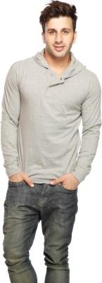 Gritstones Solid Men's Hooded Grey T-Shirt