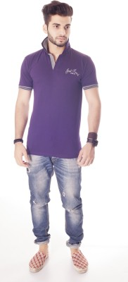 Fast Track Solid Men's Fashion Neck Purple T-Shirt