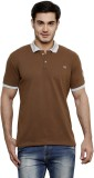 ominous Solid Men's Polo Neck Brown T-Sh...