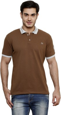 ominous Solid Men,s Polo Neck Brown T-Shirt