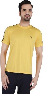 Awack Solid Men's Round Neck Yellow T-Shirt