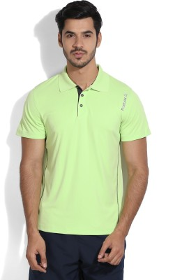 Reebok Solid Men's Polo Green T-shirt